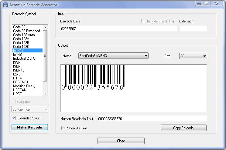 Aeromium Barcode Generator